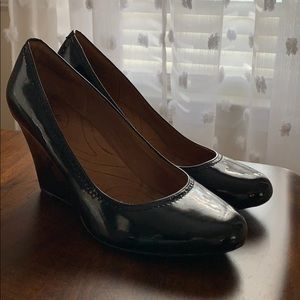 Clark's patent leather wedges